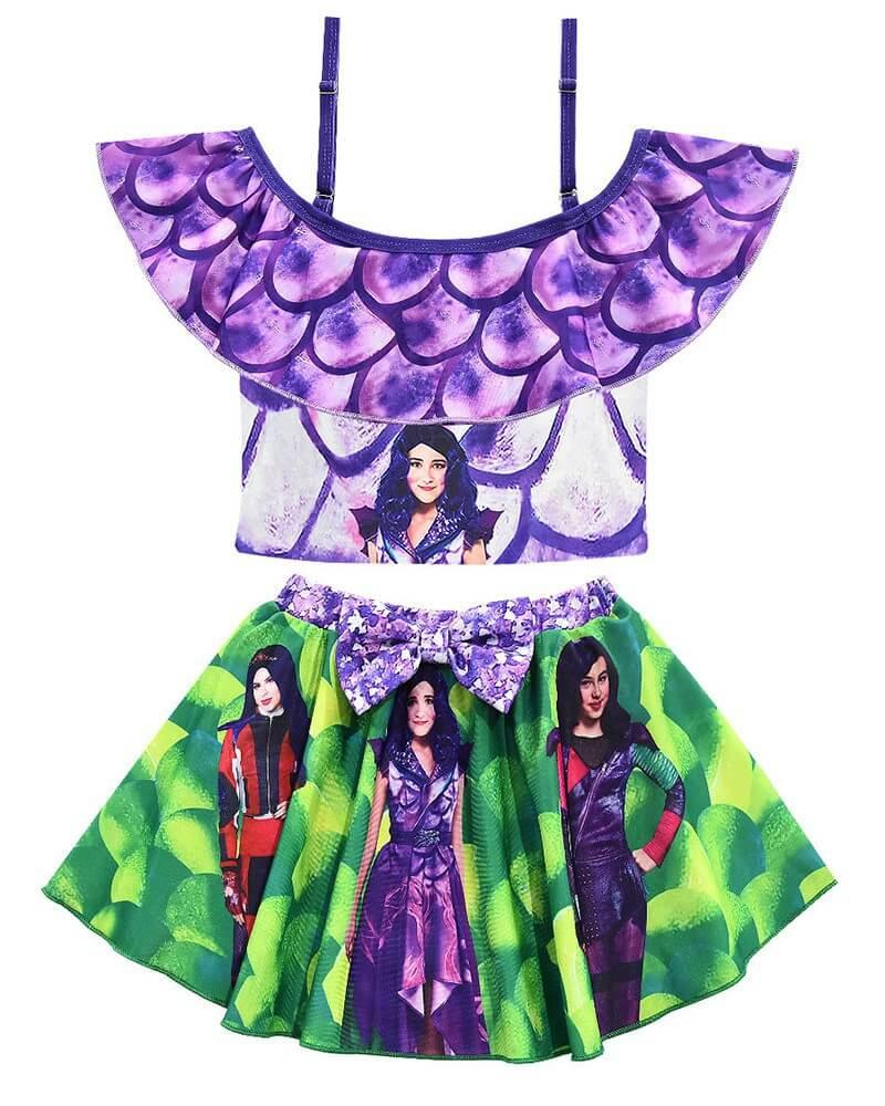 Descendants 3 Printed Girls Top And Skirt Two Piece Swimsuit