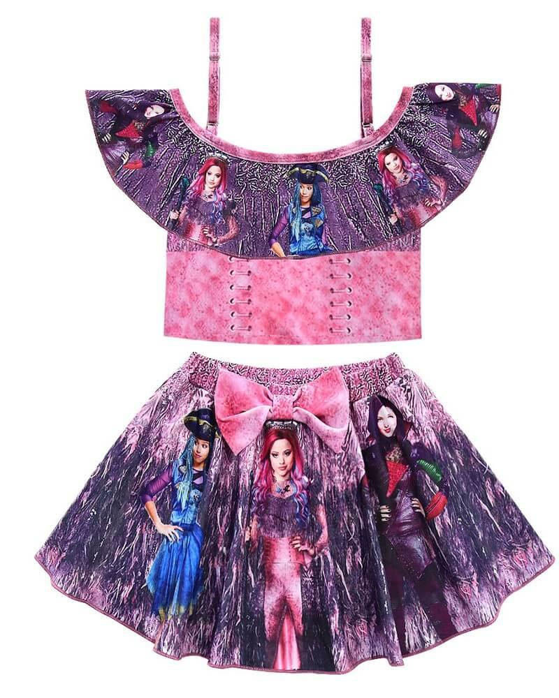 Girls Descendants 3 Printed Frill Top And Skirt Two Piece Swimsuit
