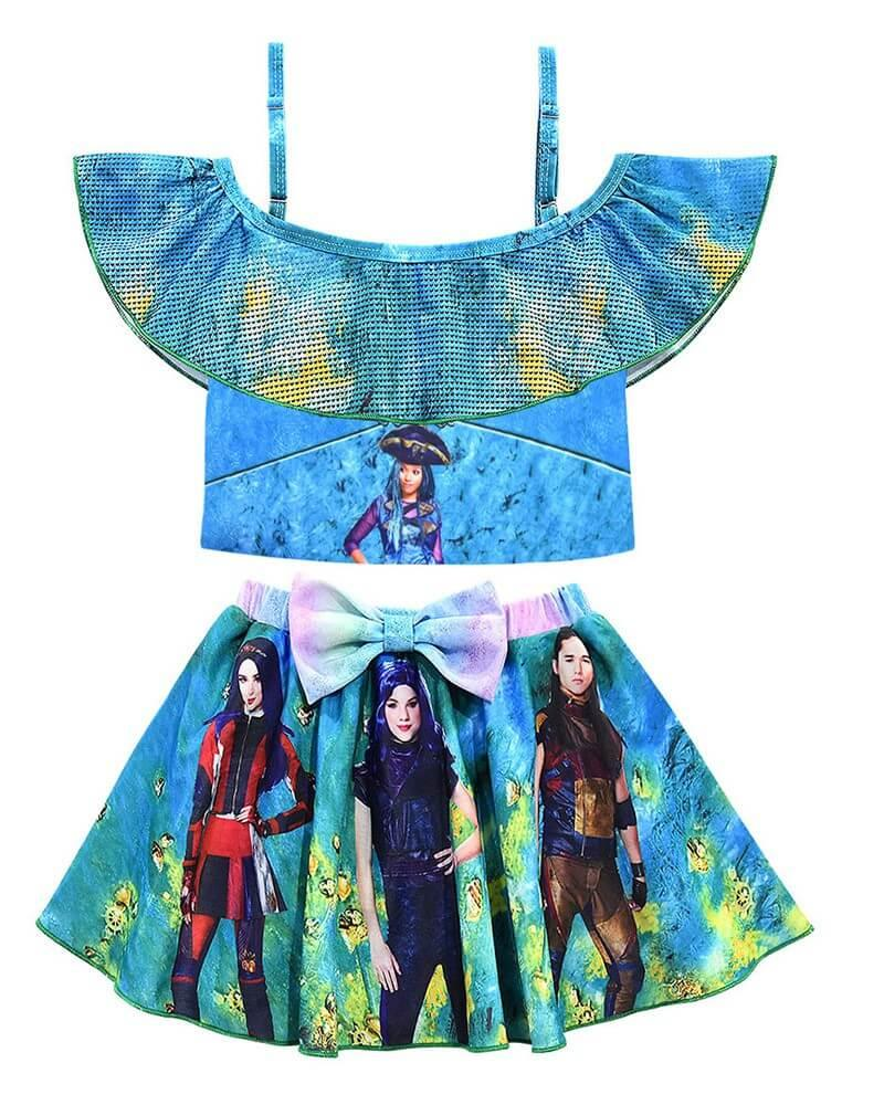 Descendants 3 Print Girls Blue Frill Top And Skirt Two Piece Swimsuit