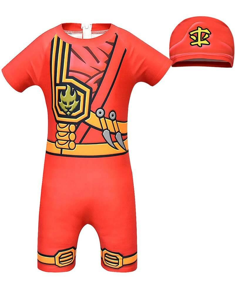 Ninjago Red Ninja Kai Printed Kids One Piece Swimsuit With Hat