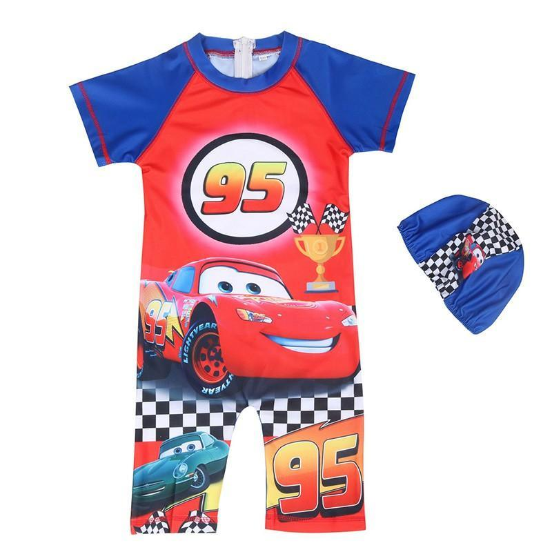 95 Car Lightning McQueen Printed Boys One Piece Swimsuit With Hat