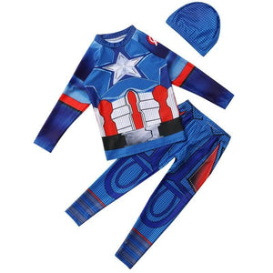 Boys Captain America Long Sleeve 3 Pieces Swimsuit Dive Skin Suit