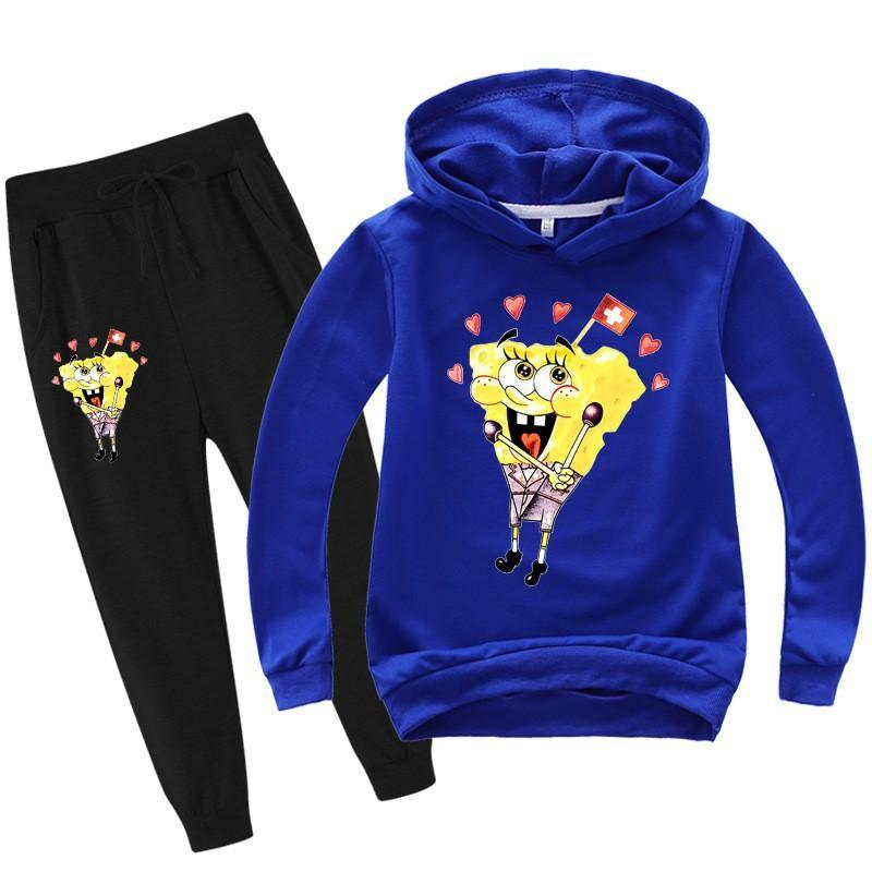 Girls Boys SpongeBob Printed Cotton Hoodie And Sweatpants Tracksuit