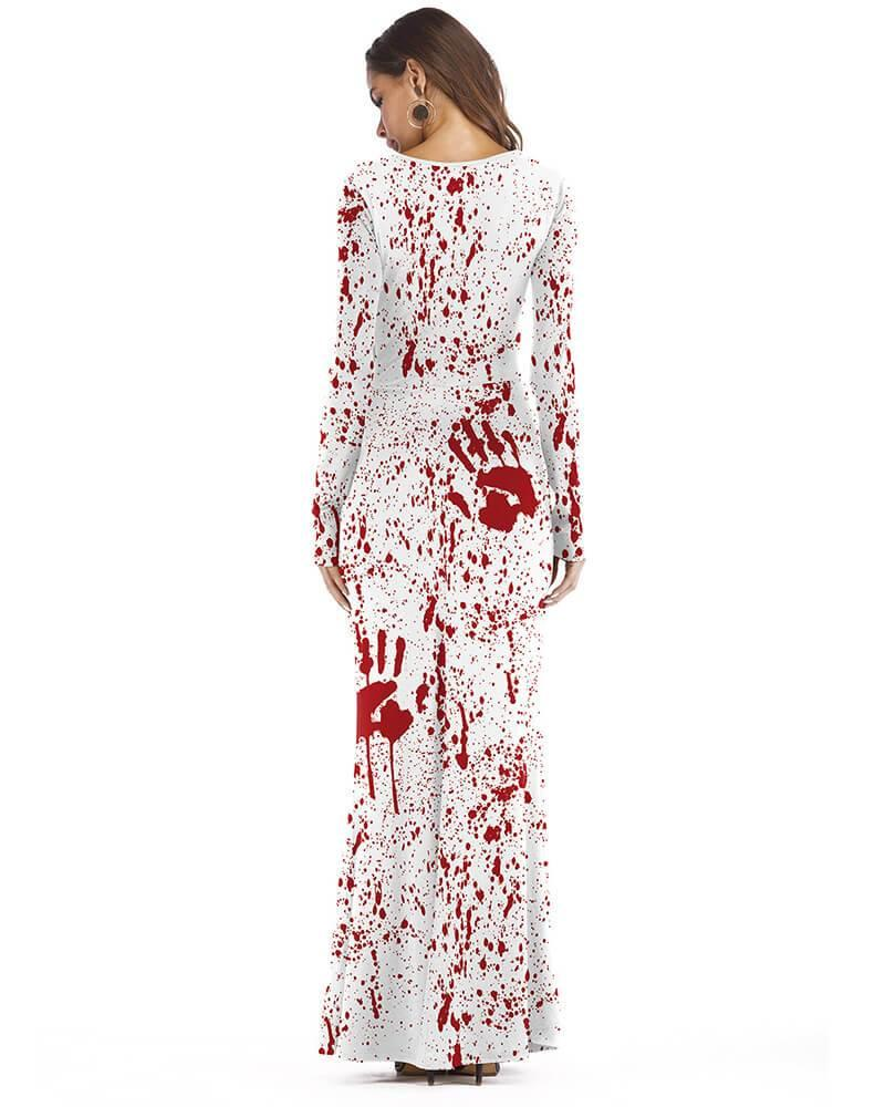 White Red Blood Bleeding Hands Scary Halloween Maxi Dress