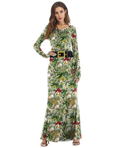 Decorated Christmas Tree Printed Long Sleeves Maxi Mermaid Party Dress