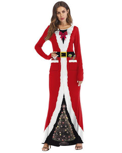 Christmas Santa Claus Red Robe Gown Printed Maxi Mermaid Hem Dress