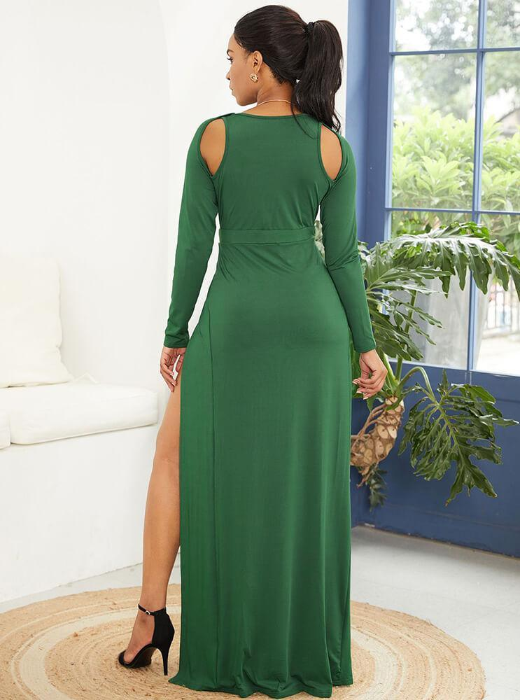 Green High Split Plunge Cut Out Long Sleeve Maxi Party Dress