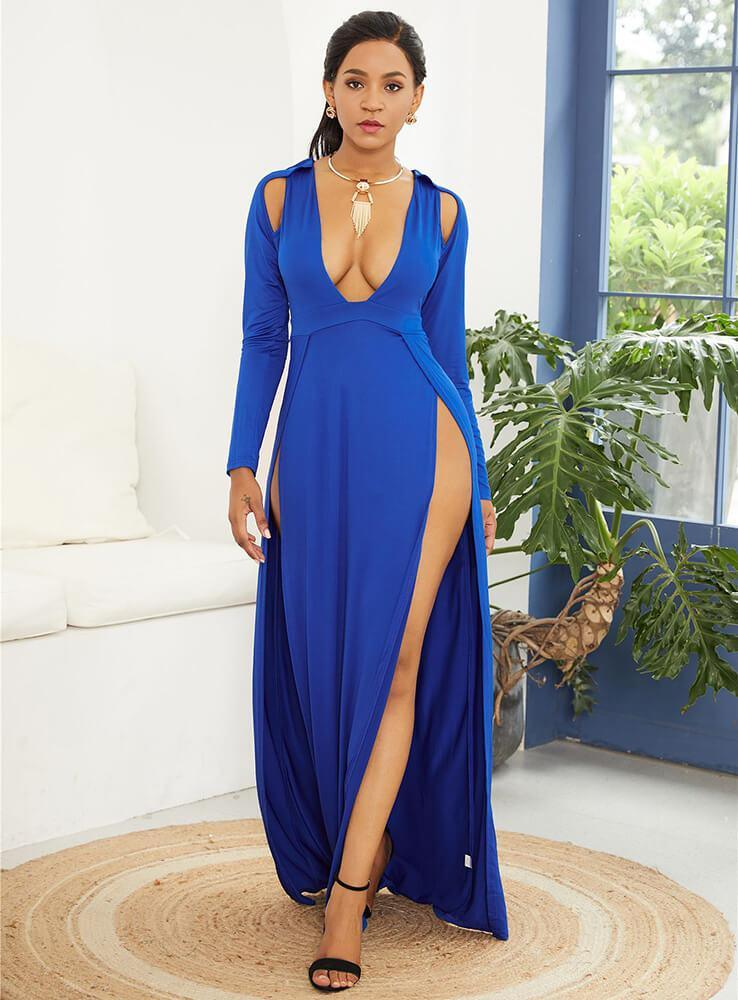 Blue Cut Out Thigh High Slit Plunge Long Sleeve Maxi Party Dress