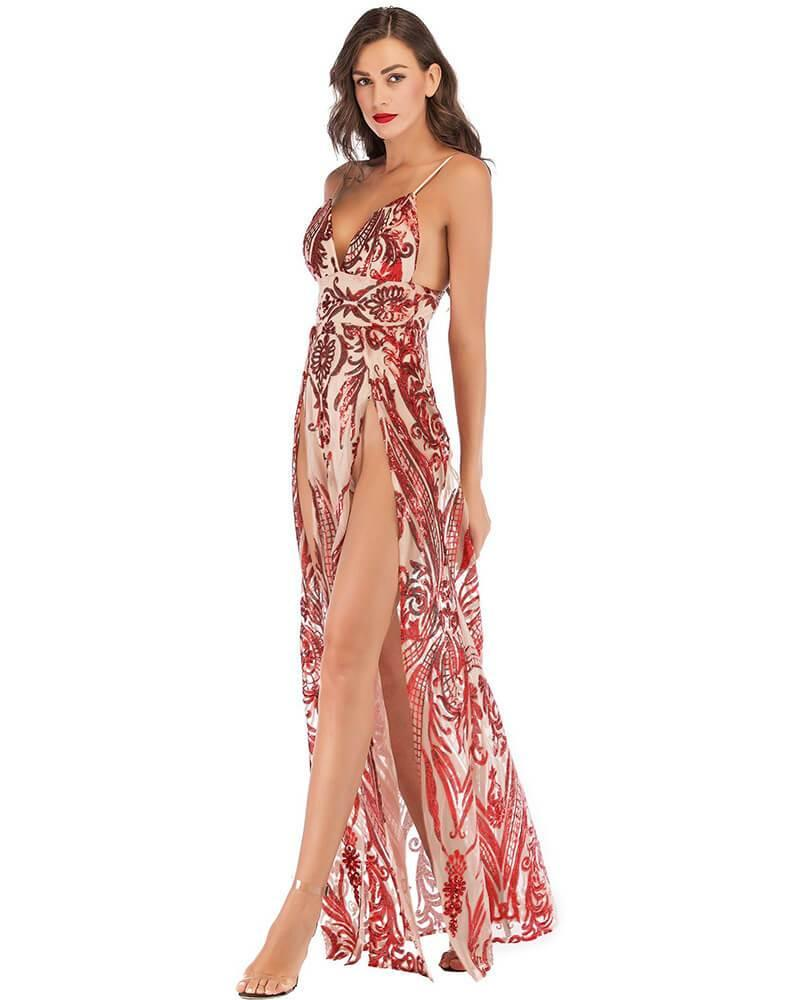 Red Pattern Sequin Thigh High Slit Party Evening Gown Maxi Slip Dress