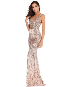 Geo Patterned Sequin Sleeveless Formal Evening Gown Party Maxi Dress
