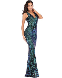 Haute Geo Patterned Sequin Formal Evening Gown Party Maxi Dress