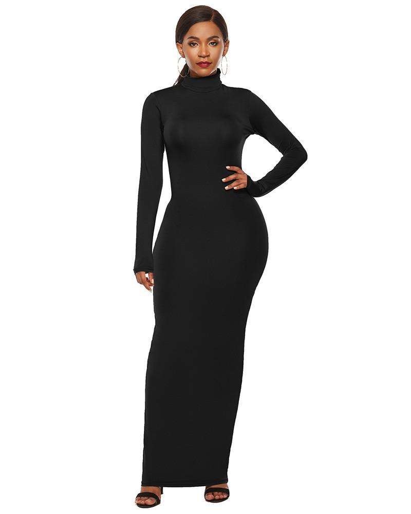 Black High Neck Long Sleeve Casual Maxi Bodycon Dress