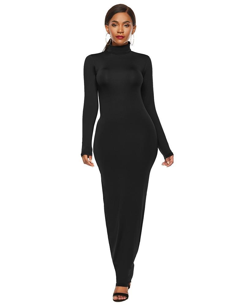 Plus Size Black High Neck Long Sleeve Casual Maxi Bodycon Dress