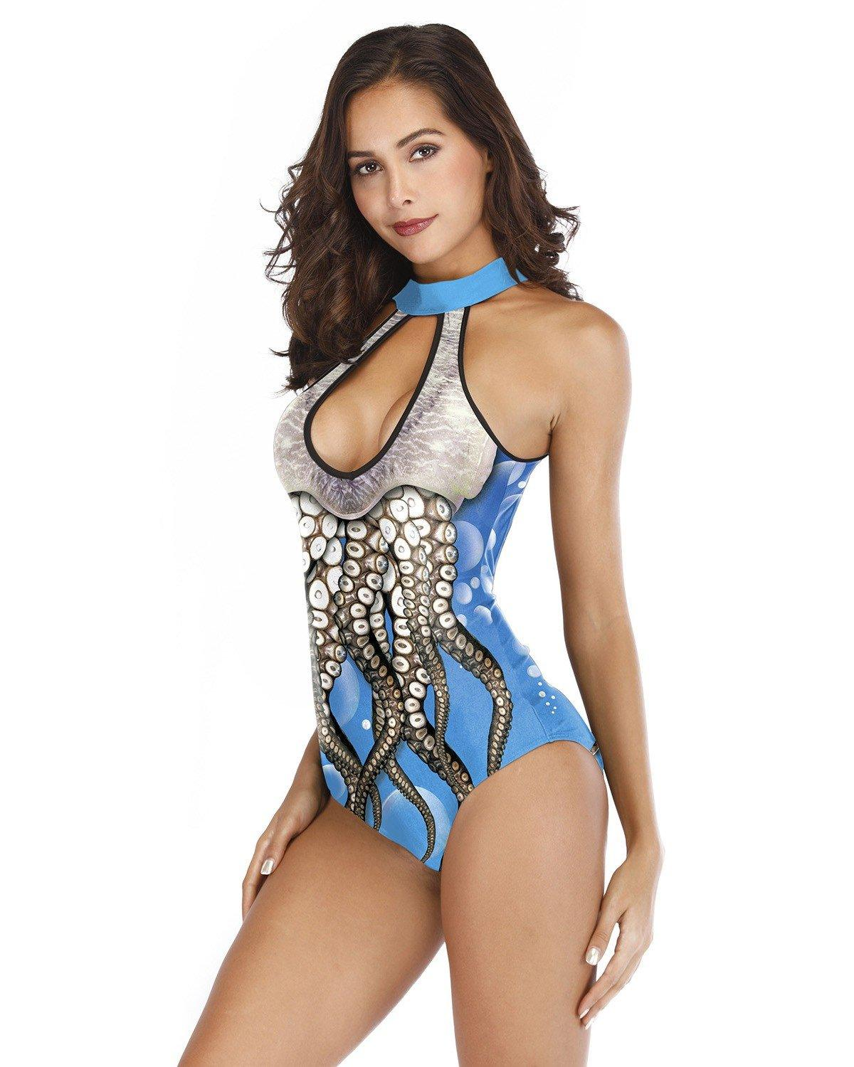 Blue Octopus Keyhole Front Cutout Back Padded One Piece Swimsuit