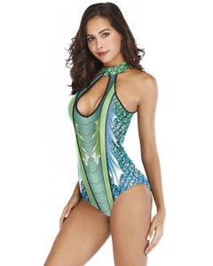 Blue Padded Fish Scale Print Mermaid One Piece Swimsuit Monokini