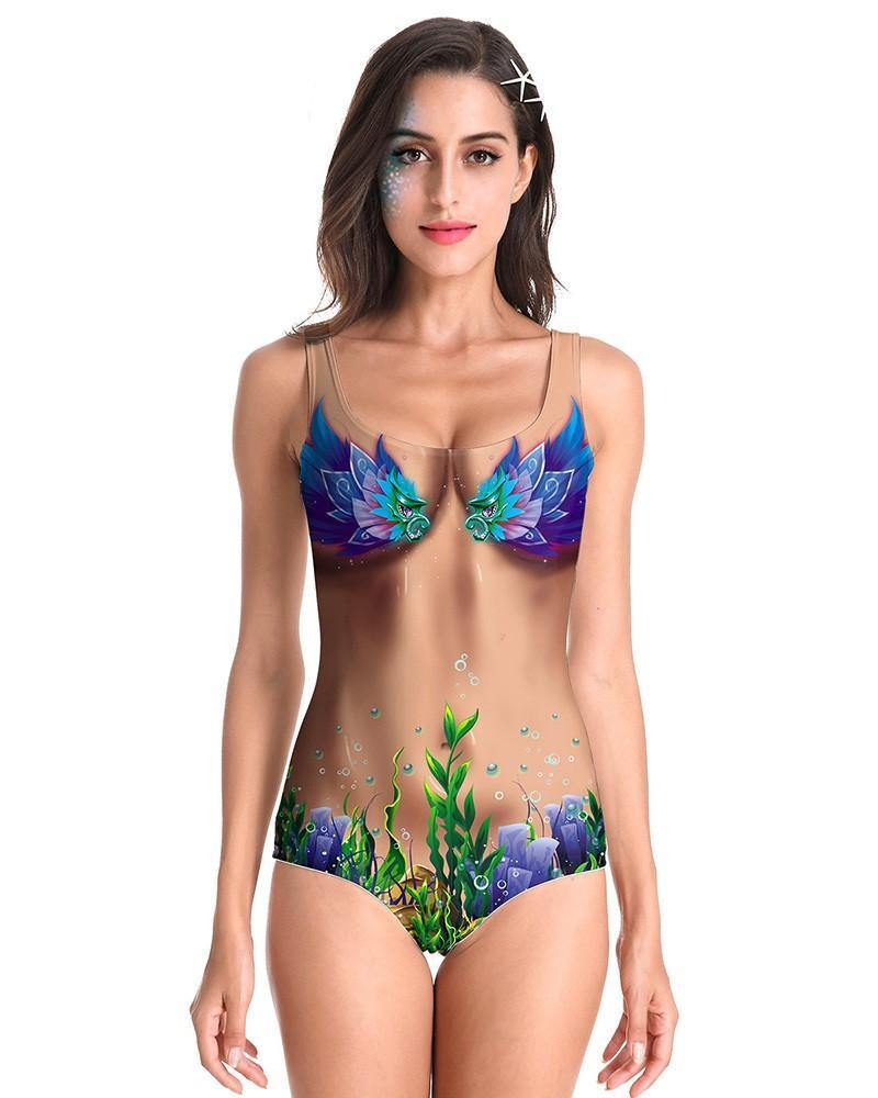 Blue Bird Sea World Chest Belly Skin Print One Piece Swimsuit Monokini