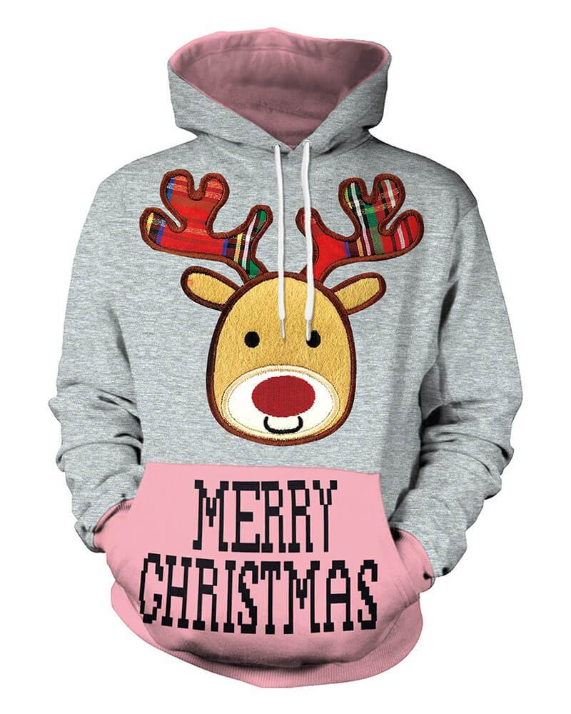 9652f7e72c44c2 Red Nosed Reindeer Rudolf Merry Christmas Print Hooded Pullover Hoodie