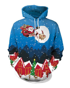Santa Claus And Gift On Sleigh Christmas Hooded Pullover Unisex Hoodie