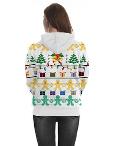 Christmas Elements Printed Hooded Pullover White Unisex Hoodie