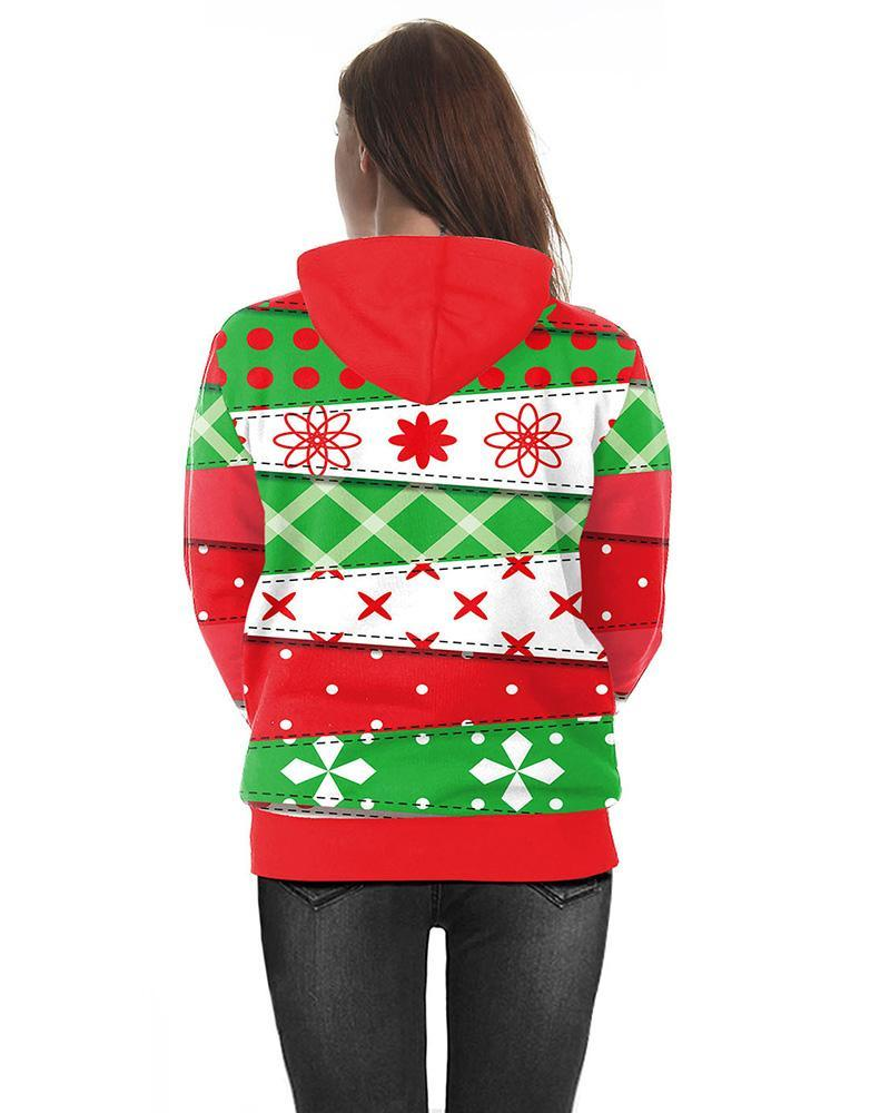 Green Red Unisex Christmas Snowman Snowflake Printed Pullover Hoodie