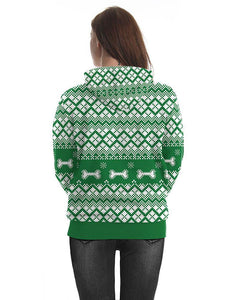 Dog In Christmas Hat And Gifts Printed Green Pullover Unisex Hoodie
