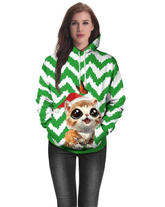 Cat In Christmas Hat Multi Striped Printed Green White Pullover Hoodie