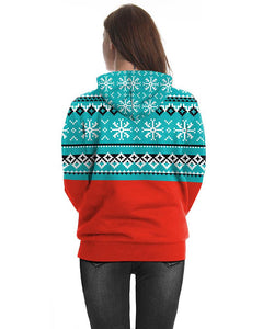 Christmas Snowman With Snowflake Printed Pullover Unisex Hoodie