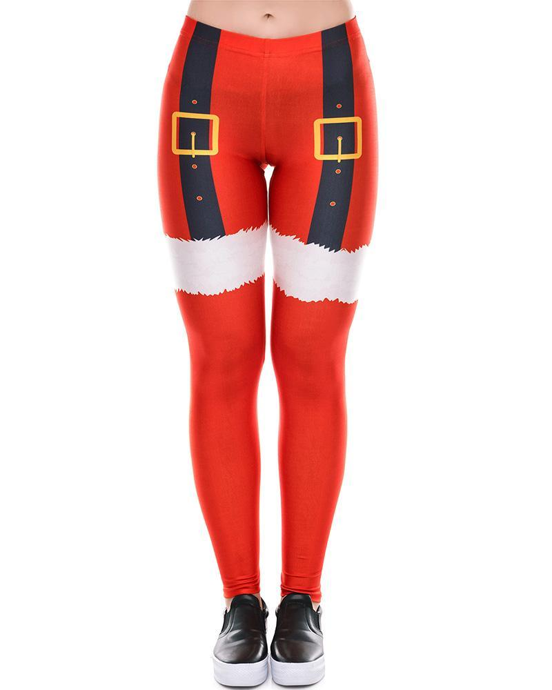 b2a7db1472a1e8 Red Christmas Santa Claus Cloth Printed Womens Leggings – pinkfad
