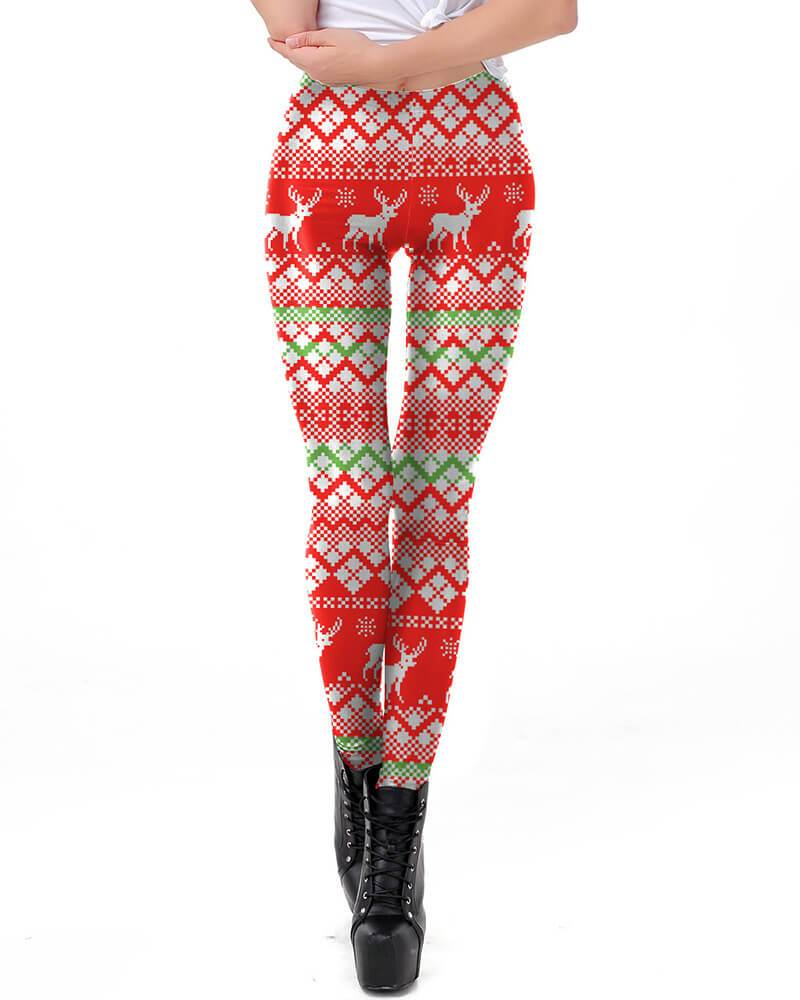 2ff154945b804b Classic Ugly Christmas Reindeer Workout Sporty Womens Leggings – pinkfad