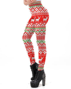 Classic Ugly Christmas Reindeer Workout Sporty Womens Leggings