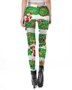 Christmas Candy Jingle Bell Striped Green Stretchy Womens Leggings