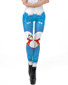 Christmas Lovers Reindeer Printed Blue White Leggings