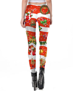 Cute Christmas Candy Wreath Stocking Printed Red Christmas Leggings