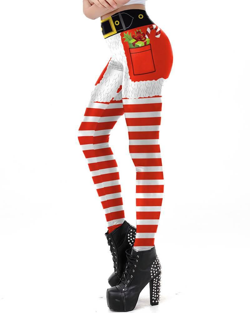 20ead31b8543d Christmas Candy Gift Shorts Pattern Printed Womens Workout Leggings ...