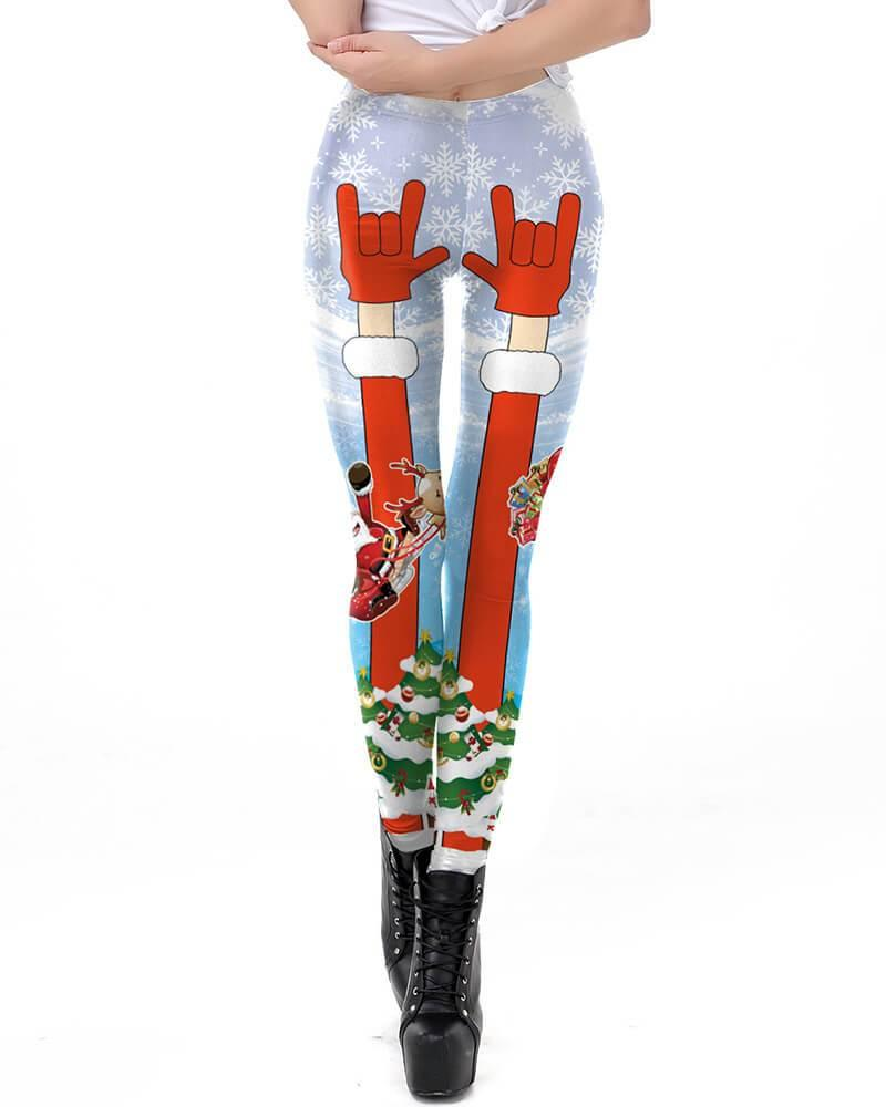 Merry Christmas Funny Design Womens Stretchy Leggings