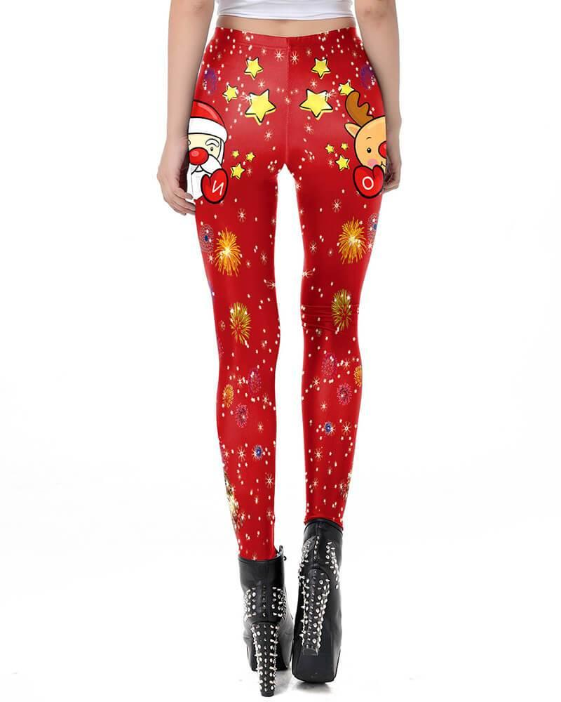 Funny Santa Claus And Rudolf Red Merry Christmas Leggings