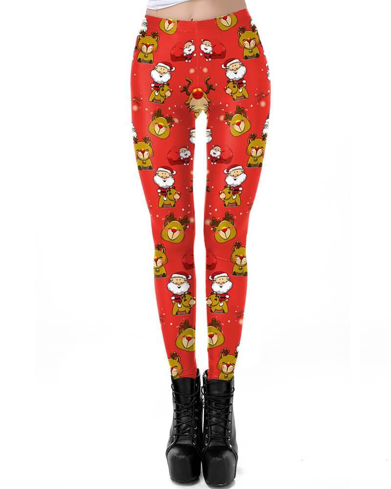 c9b4ee26fa6e12 Cute Santa Claus And Rudolf Red Christmas Leggings For Women – pinkfad
