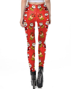 Cute Santa Claus And Rudolf Red Christmas Leggings For Women