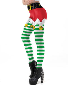 Red Green Jingle Bell Shorts Pattern Printed Christmas Elf Leggings