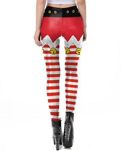 Red White Jingle Bell Shorts Pattern Printed Christmas Elf Leggings
