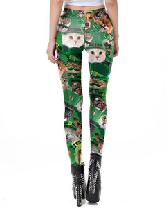 Puppy And Kitty In The Green Hat Printed Womens St. Patrick Leggings