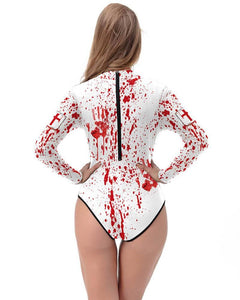 Splash Blood And Red Cross Scary Halloween Nurse Long Sleeve Swimsuit