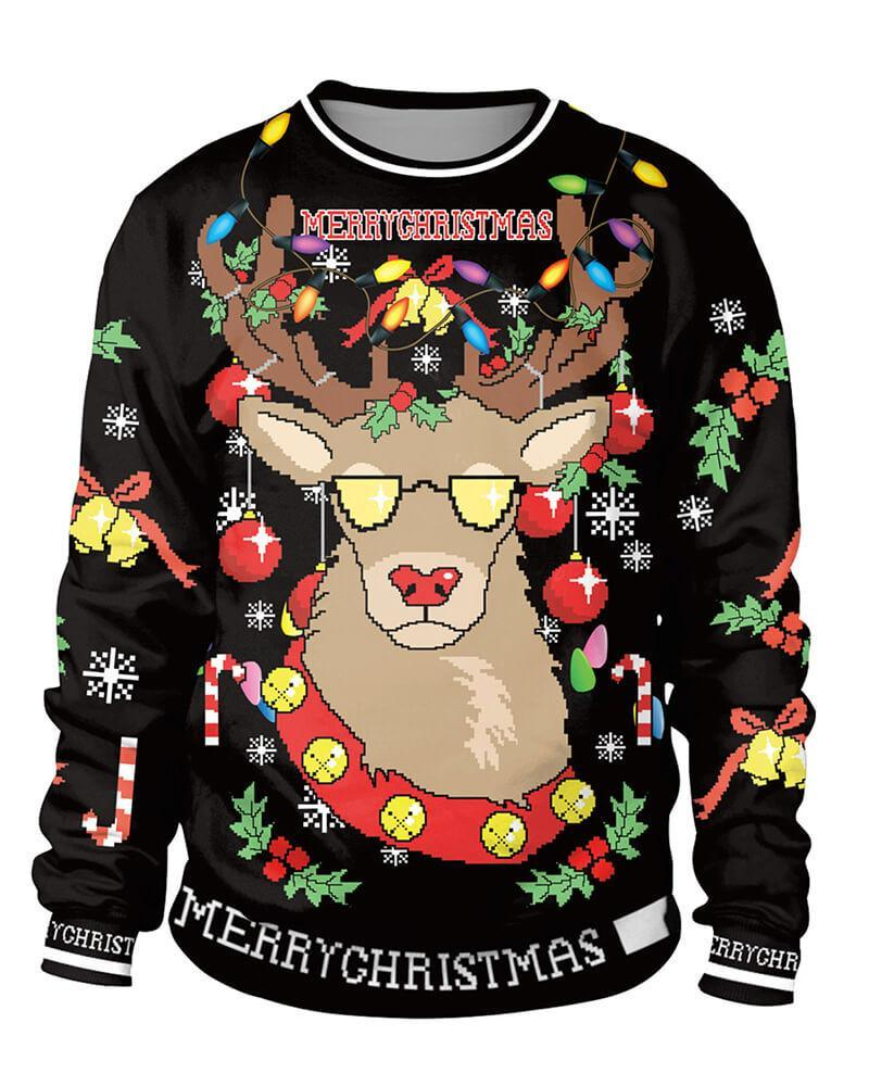 Red Nosed Reindeer Ugly Christmas Sweater Print Sweatshirt Pullover