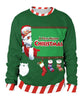 Green Christmas Stockings Santa Claus Printed Candy Trim Sweatshirt