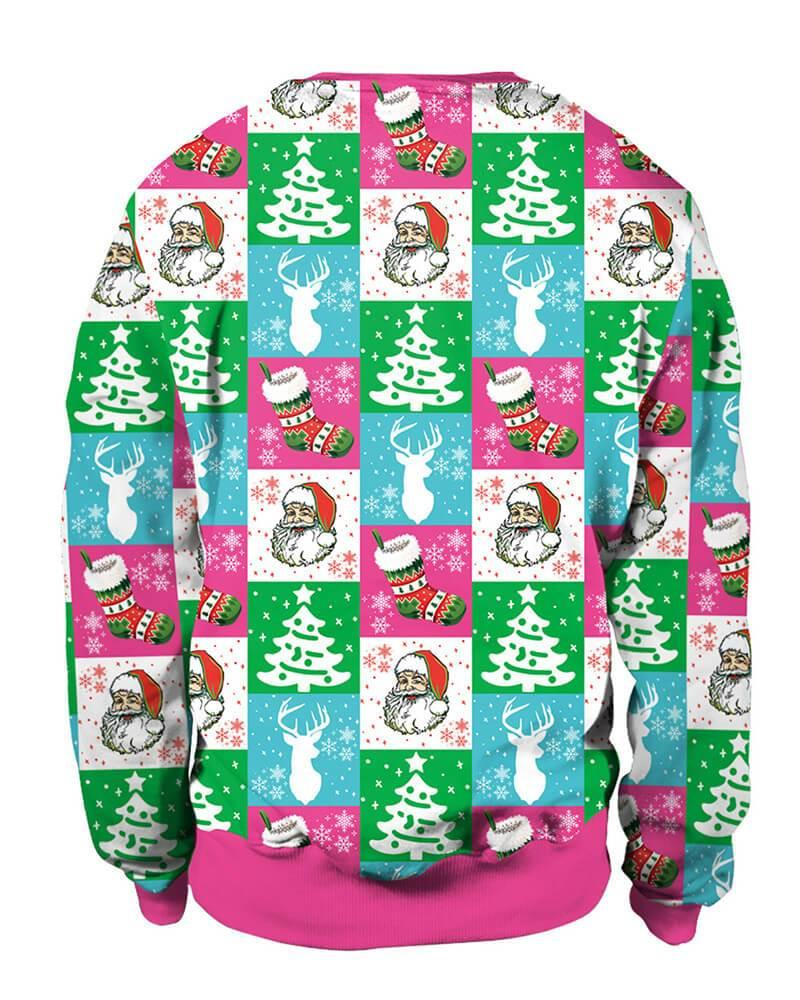 Christmas Tree And Santa Claus In Plaid Printed Pullover Sweatshirt