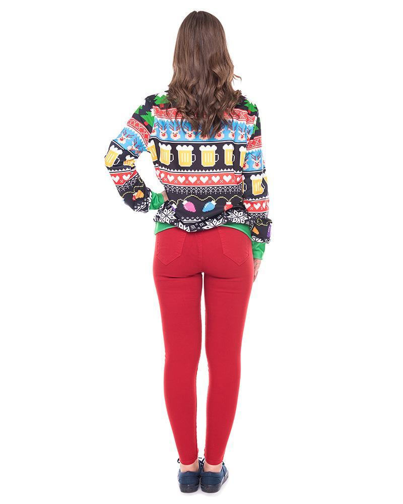 Ready For Christmas Party Ugly Sweater Printed Pullover Sweatshirt