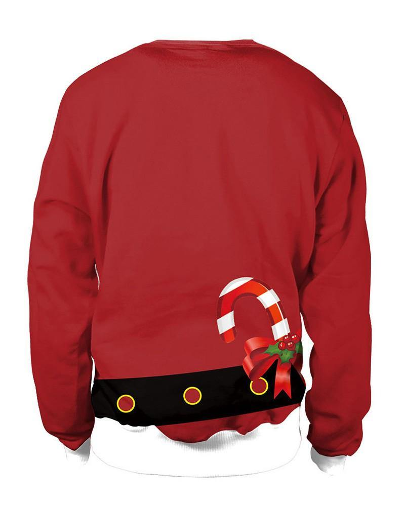 Women Chest Red Christmas Santa Claus Coat Print Pullover Sweatshirt - pinkfad