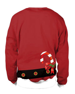 Women Chest Red Christmas Santa Claus Coat Print Pullover Sweatshirt