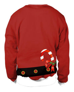 Men Chest Red Christmas Santa Claus Coat Print Pullover Sweatshirt