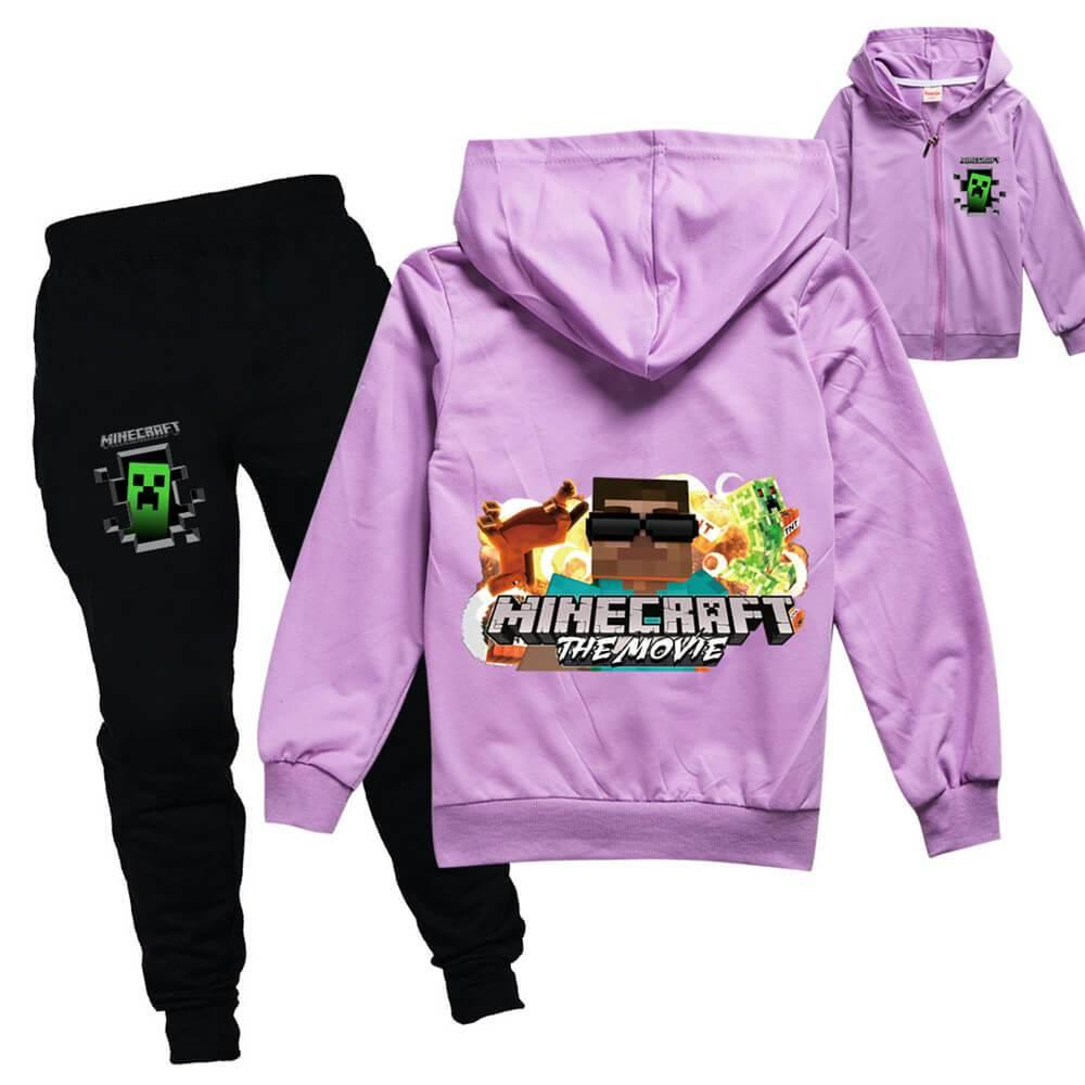 Girls Boys Minecraft Print Cotton Zip Up Hoodie And Joggers Outfit